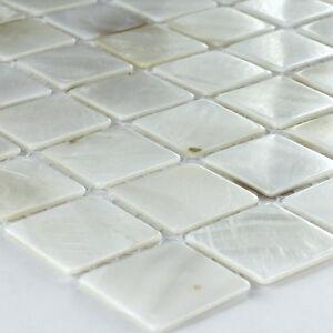 perlmutt muschel effekt mosaik fliesen weiss ebay. Black Bedroom Furniture Sets. Home Design Ideas