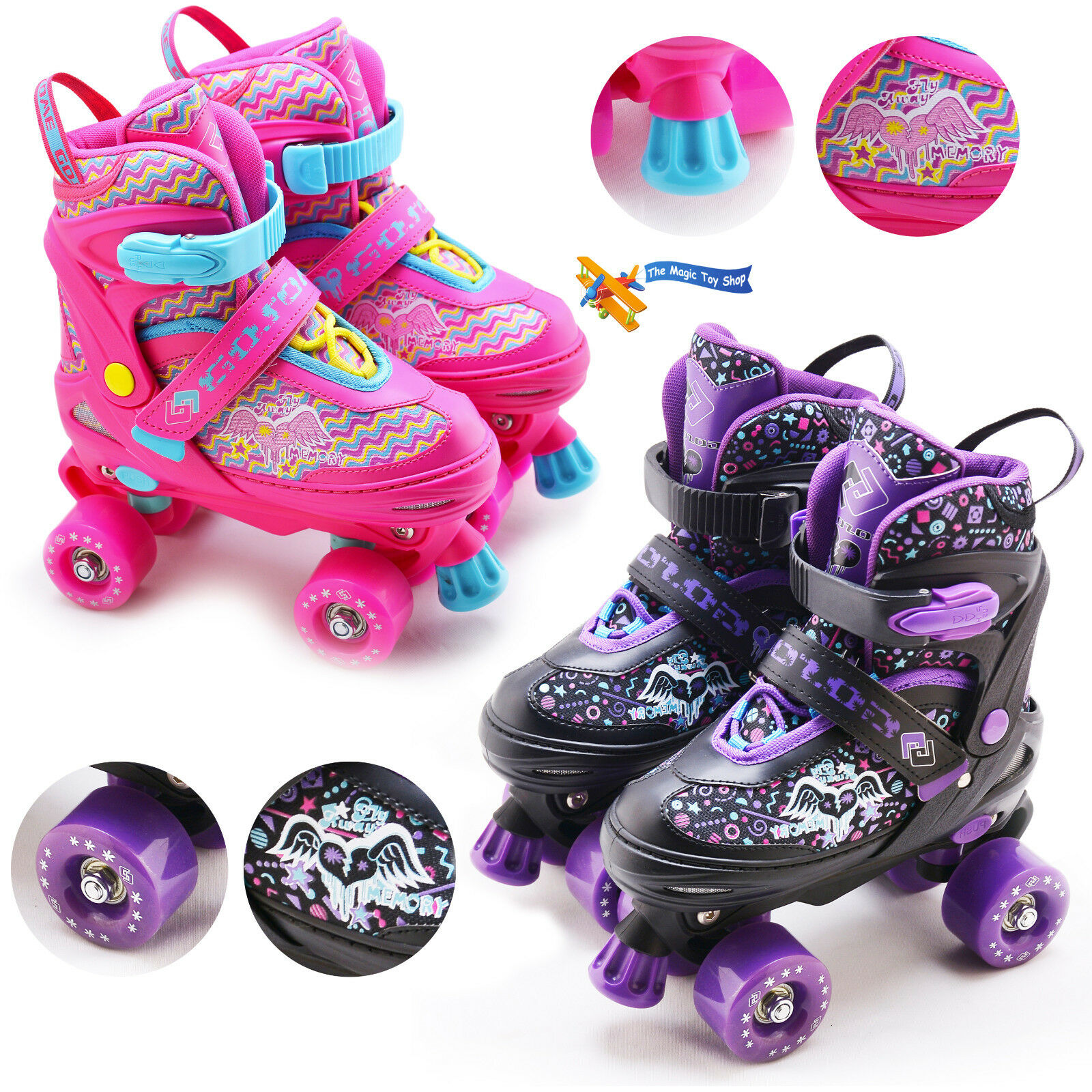 Kinder Verstellbar 4 Wheels Quad Rollschuhe Stiefel Kinder Roller