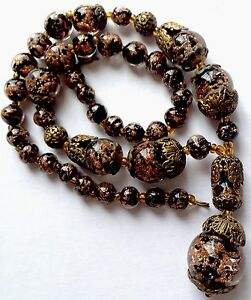 VINTAGE CZECH CASED GLASS BEAD & FILIGREE CUP DROP NECKLACE