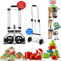 Aluminum Folding Hand Truck Dolly Trolley Cart Travel Shopping 132 Lbs. Capacity