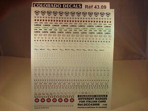 DECALS-1-43-LOGOS-VOITURES-ITALIENNES-BADGES-ITALIAN-CARS-COLORADO-4309-UV