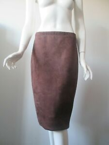 "43c3112095 NWT BCBG Max Azria ""Lyric"" Chocolate Faux Suede Leather Pencil Skirt ..."