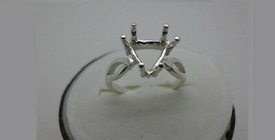 7mm -10 mm Trillion 6-Prong Vee- Shank Pre-Notched Sterling Silver Ring Settings