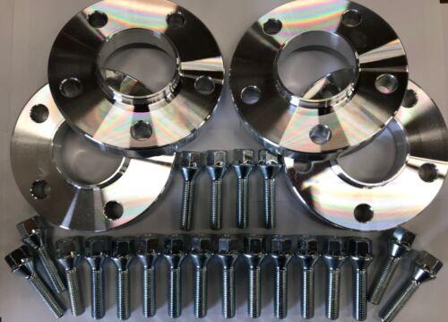 M14X1.5 Argento Bulloni Per AUDI 66.6 RUOTA in lega Distanziatori 25mm Argento x 4