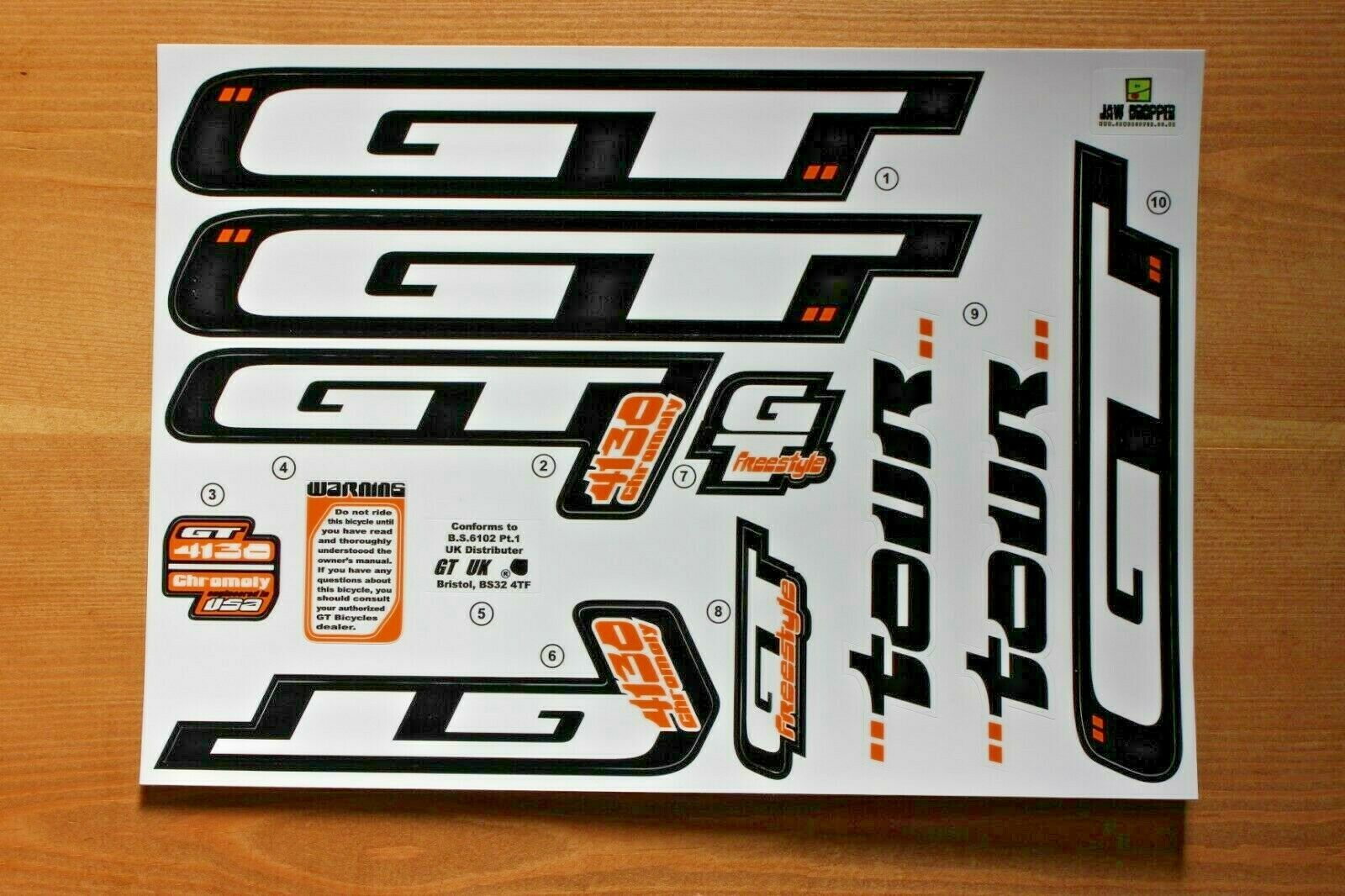 2000 Reproduction GT Tour BMX Decalcomania Setper telaio rosso dipinta