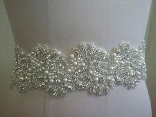 Clear Rhinestone Pearl Wedding Bridal Applique Trim Craft = DIY! = 35 INCH LONG