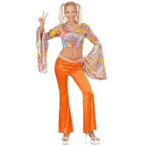 Orange-60s-70s-Bright-Bell-Bottom-Flared-Flower-Power-Trousers-Fancy-Dress-Disco