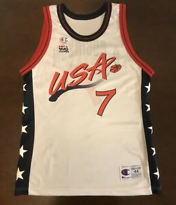 sports shoes 18b2d 6b63b Details about Rare Vintage Champion USA Dream Team David Robinson White  Basketball Jersey