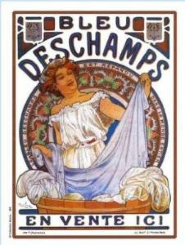 FRANZOSICH VINTAGE METALL BLECHSCHILD 20X15cm RETRO WERBUNG BLEU DESCHAMPS SEIFE