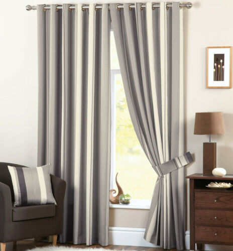 Whitworth Stripe Charcoal Eyelet Lined Curtains