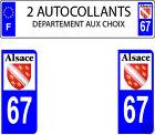 LOT 2 STICKERS AUTOCOLLANT PLAQUE IMMATRICULATION ALSACE 2 DEPAR AUX CHOIX