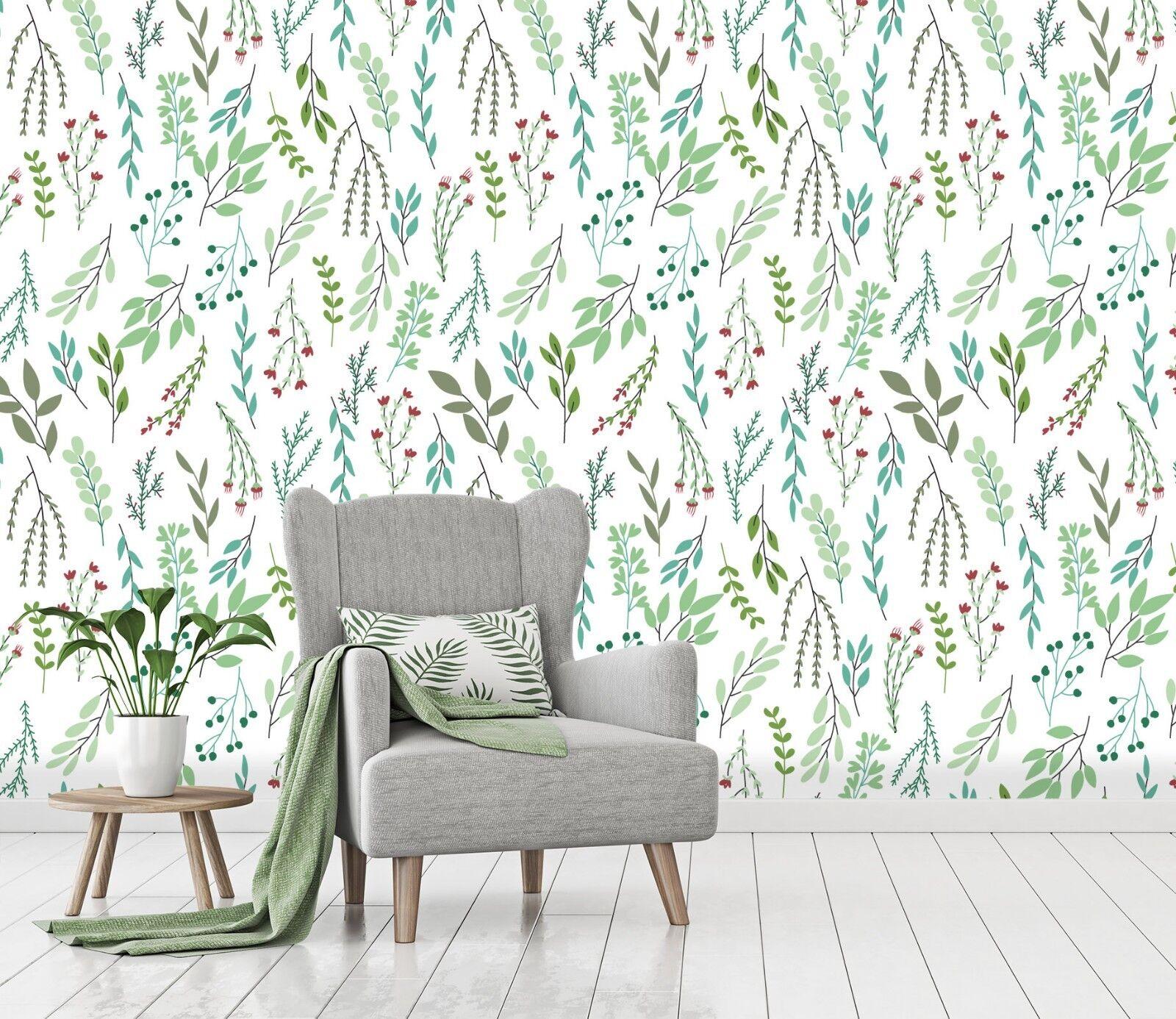 3D Frische Grüne Blätter 332 Tapete Wandgemälde Tapete Tapeten Familie Kinde DE