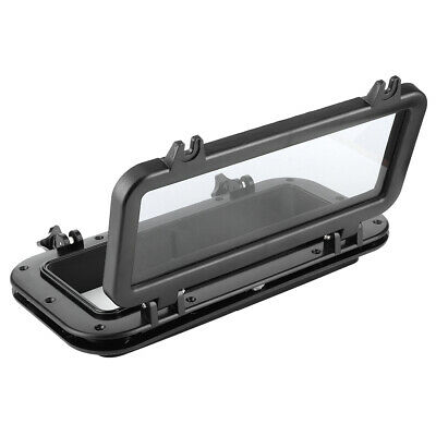 Qiilu Boat Porthole 4mm Opening Portlight Rectangular Porthole Temper Glass Ultraviolet Resistant Windows for Boat Yacht 400x200mm Black