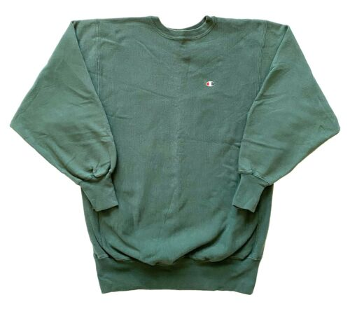 Vintage 80s 90s Champion Reverse Weave Green Pullo