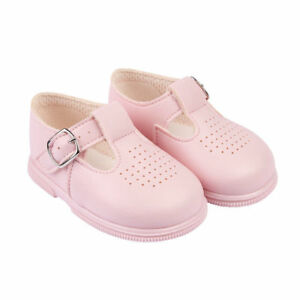 BAYPODS SPANISH STYLE PUNCH DETAIL TBAR PALE PINK INFANT GIRLS WALKING SHOES - NO COLLECTION, United Kingdom - BAYPODS SPANISH STYLE PUNCH DETAIL TBAR PALE PINK INFANT GIRLS WALKING SHOES - NO COLLECTION, United Kingdom