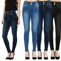 Womens Ladies High Waisted Blue Skinny Fit Jeans Stretch Denim Jegging Size 6-18