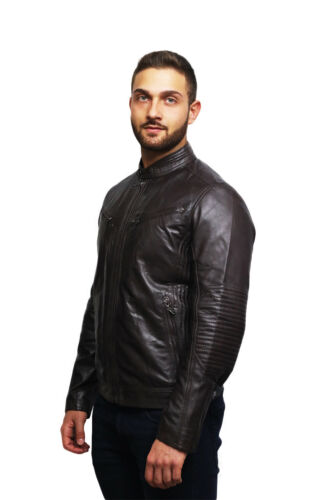 Brandslock Mens Leather Genuine Lamb Skin Trucker Stud Press Jacket