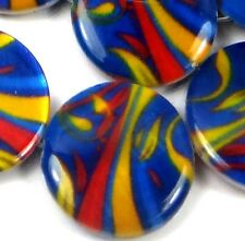 20mm Bright Swirls Mother Of Pearl Disc MOP Beads 16""
