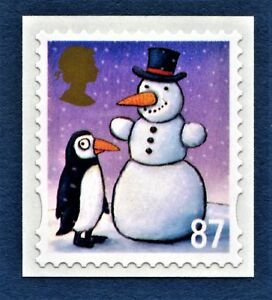 Christmas-034-Snowman-and-Penguin-034-Illustrated-on-a-2012-s-a-Stamp
