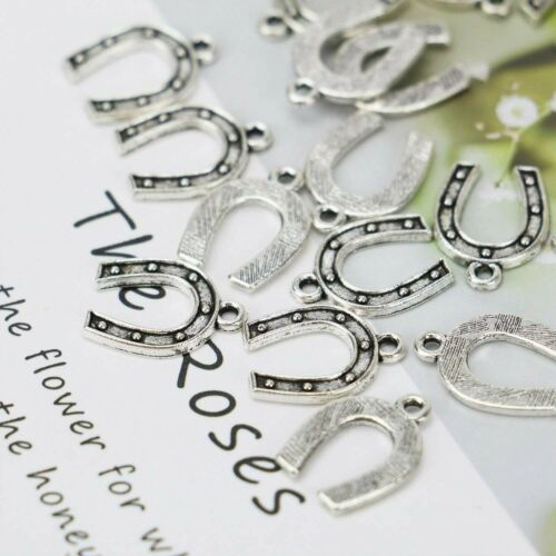 10 Horseshoe Charms Lucky Good Luck Pendants Western Equestrian Antiqued Silver