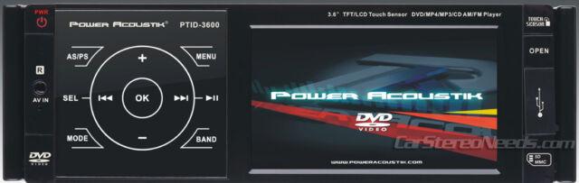 "POWER ACOUSTIK PTID-3600 INDASH CAR 3.6"" LCD TFT MONITOR DVD/MP3/CD PLAYER RADIO"