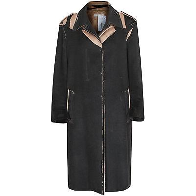 PRADA camel hair black distressed overprint jacket trompe loeil print coat 46/10