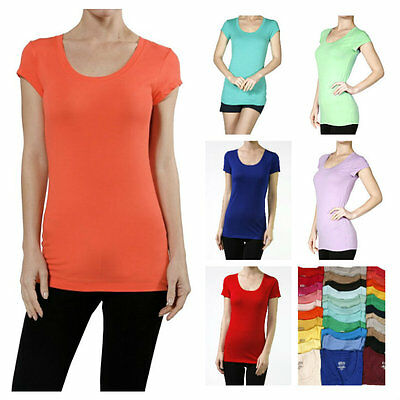 Jr. Women Essential Basic Cotton T-Shirts Casual Short Sleeve Top Scoop Neck