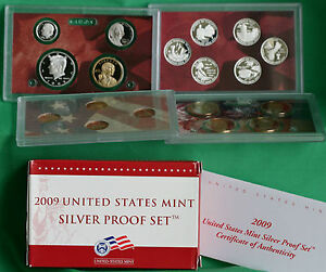 2009-S-ANNUAL-18-Coin-SILVER-Proof-Set-United-States-Mint-with-Box-and-COA