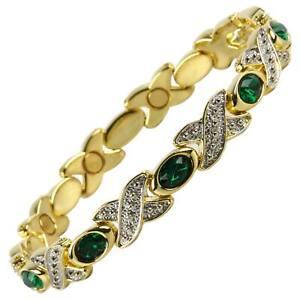 Femmes-Bracelet-Magnetique-Faux-Cristaux-Aimants-Emeraude-Vert
