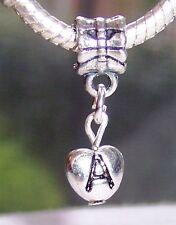 Letter A Heart Alphabet Initial Dangle Bead fits Silver European Charm Bracelets