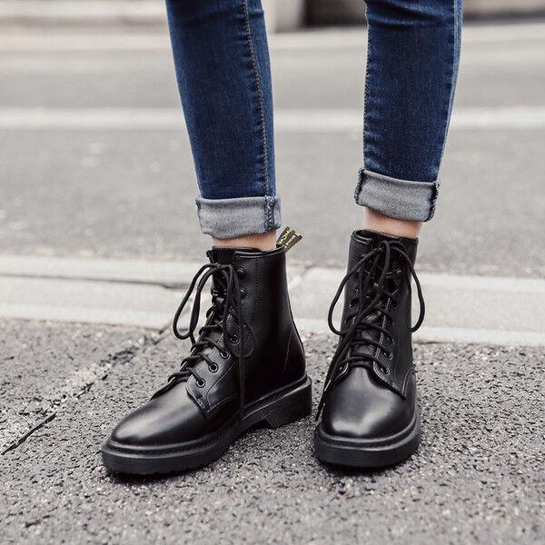 botas bajo Zapatos botas Militares 4 cm Negro Elegantes Piel Sintético 9526