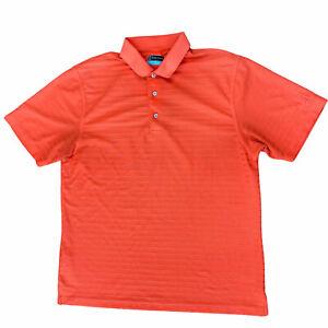 PGA-Tour-Polo-Golf-Shirt-Men-s-Large-Short-Sleeve-Orange-Striped