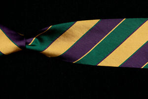 BEN-SILVER-Tie-Forest-Green-Eggplant-Gold-Repp-Stripe-Silk-Twill-USA-57-034-x-3-034