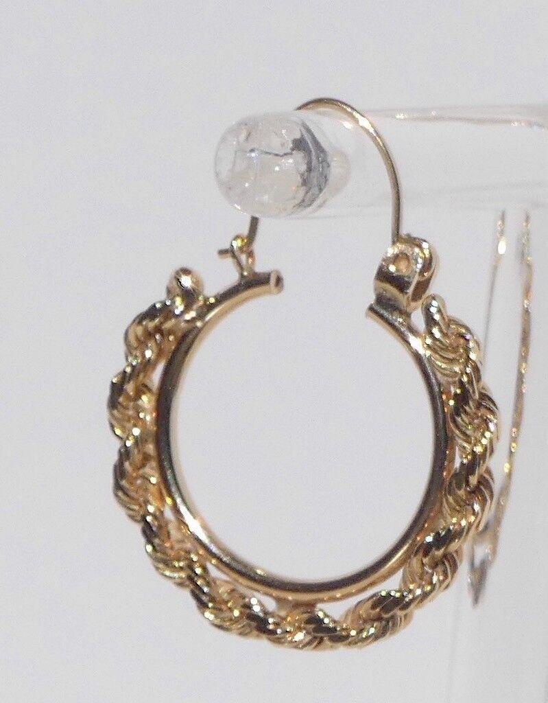 14K Yellow gold Diamond Cut Rope Hoop Earrings 22mm .85 inch