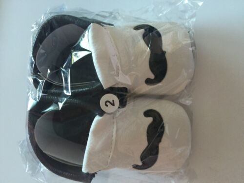 Baby Boy White Mustache Christening Wedding Party Synthetic leather first Shoes