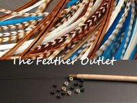 Feather Hair Extension Kit, Lot Of 10, Real Turquoise Natural Browns Native Kit