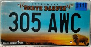 GENUINE-North-Dakota-Peace-Garden-Buffalo-License-Licence-Number-Plate-305-AWC