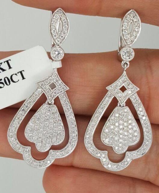 NEW 18K WHITE GOLD DIAMOND HANGING DROP DANGLE LONG CHANDELIER DESIGN EARRINGS