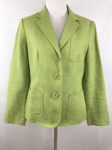 f39d5493478 Talbots Women s 8P Irish Linen Blazer Lime Green Lined Jacket ...