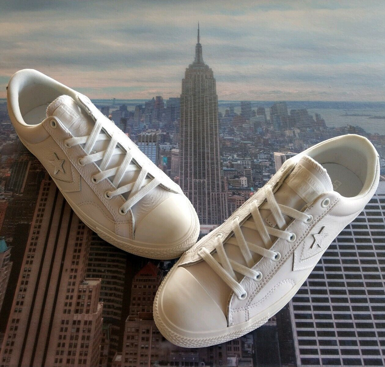 Converse Star Player Ox Low Top Triple White Leather Mens Size 9.5 147470c New