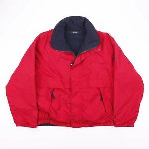 Vintage-NAUTICA-Reversible-Polaire-Veste-D-039-exterieur-rouge-bleu-marine-homme-taille-M