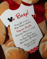 Set Of 10 Mickey Mouse Onesie Baby Shower Invitation - All Wording Customized