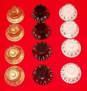4 x bell shaped top hat speed knobs for gibson guitar etc gd bk wh ebay. Black Bedroom Furniture Sets. Home Design Ideas