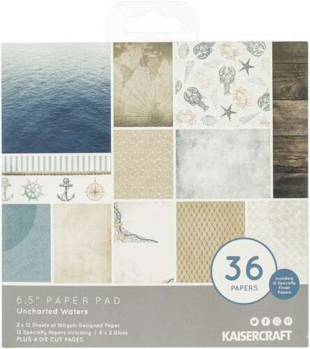 """Kaisercraft Paper Pad 6.5/""""X6.5/"""" 40//Pkg Uncharted Waters 883416350798"""