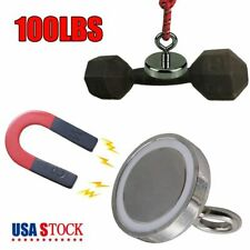 100lbs Fishing Magnet Super Strong Neodymium Round Thick Eyebolt Hunt Magnets Us