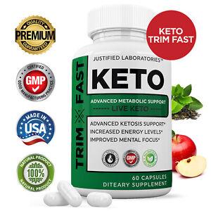Trim Fast Keto Pills Advanced Ketogenic Supplement Exogenous BHB Ketones 60 Caps