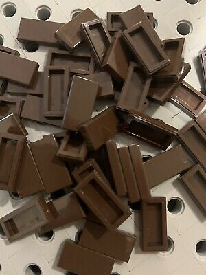 Lego Trans Brown Flat Tiles 1x2 Smooth Finishing Tile Buildings Roof Floor 25pcs