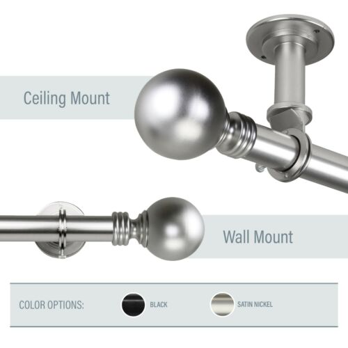 """Balloon Ceiling Curtain Rod 1/"""" OD #10-01 choose from  2 colors and 5 sizes"""