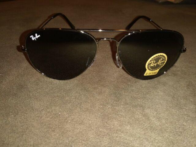 New Ray Ban RB3025 Aviator Sunglasses Unisex 58 Black on Black G15 Lens