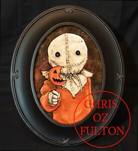 Sam-Trick-R-Treat-Horror-Movie-Framed-Print-By-Artist-Chris-Oz-Fulton-Signed